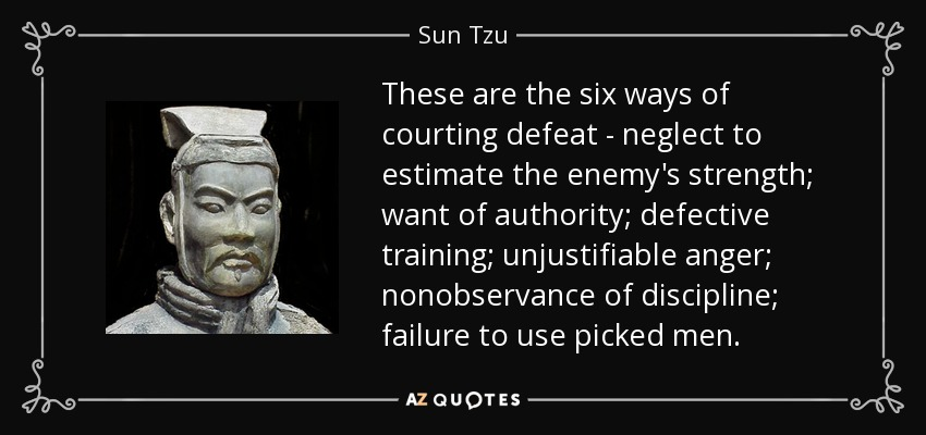 These are the six ways of courting defeat - neglect to estimate the enemy's strength; want of authority; defective training; unjustifiable anger; nonobservance of discipline; failure to use picked men. - Sun Tzu