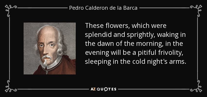 These flowers, which were splendid and sprightly, waking in the dawn of the morning, in the evening will be a pitiful frivolity, sleeping in the cold night's arms. - Pedro Calderon de la Barca