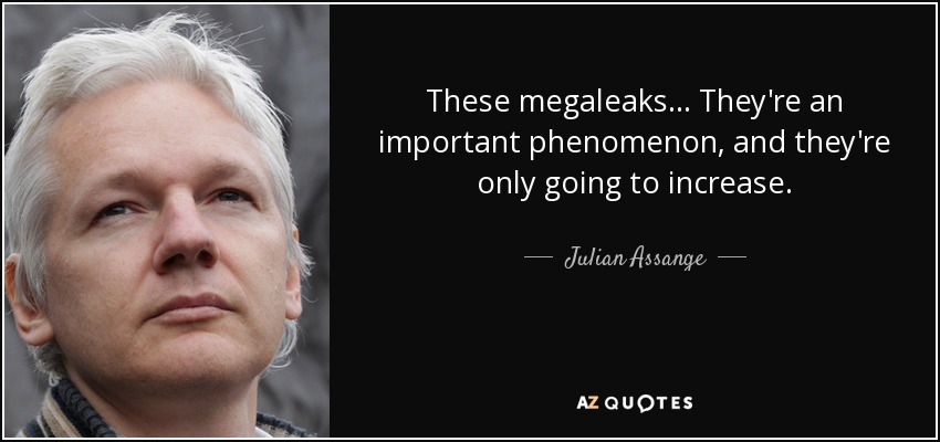 These megaleaks... They're an important phenomenon, and they're only going to increase. - Julian Assange