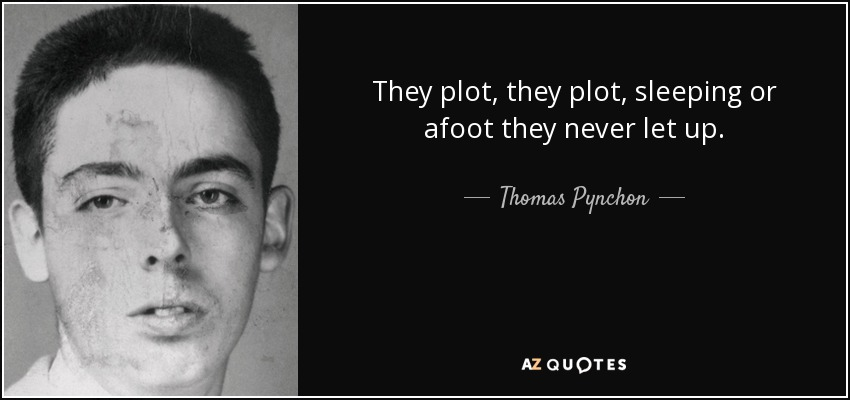 They plot, they plot, sleeping or afoot they never let up. - Thomas Pynchon