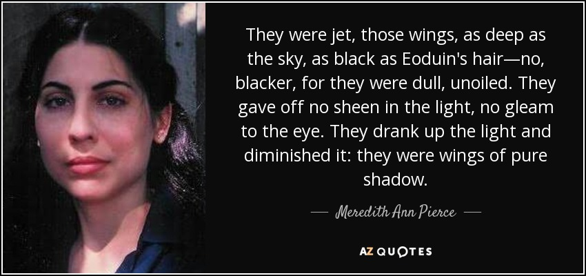 They were jet, those wings, as deep as the sky, as black as Eoduin's hair—no, blacker, for they were dull, unoiled. They gave off no sheen in the light, no gleam to the eye. They drank up the light and diminished it: they were wings of pure shadow. - Meredith Ann Pierce