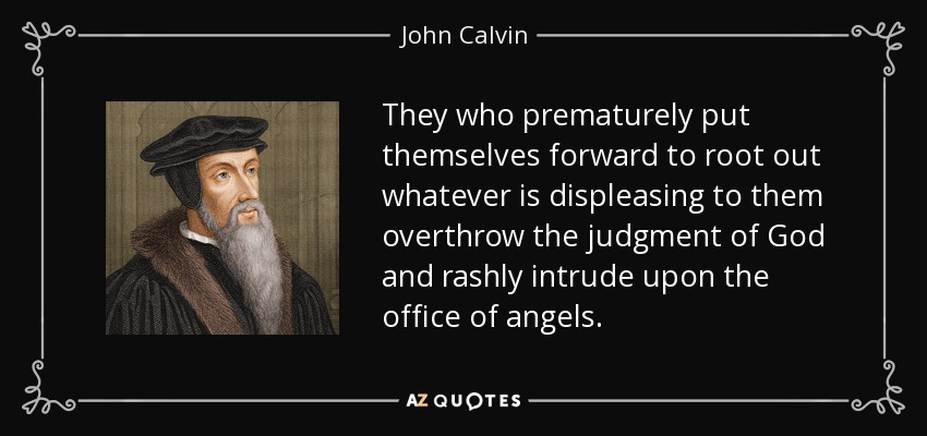 They who prematurely put themselves forward to root out whatever is displeasing to them overthrow the judgment of God and rashly intrude upon the office of angels. - John Calvin