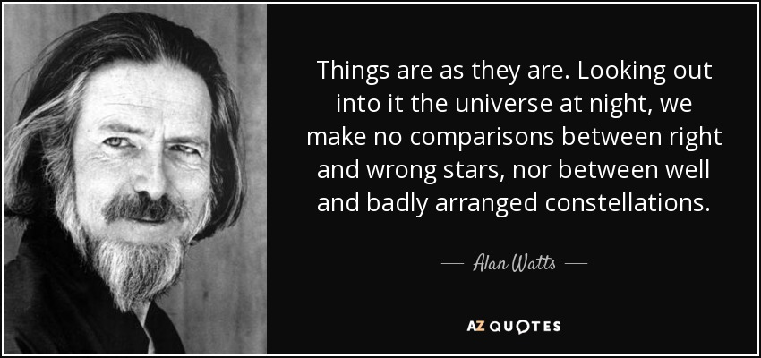 Things are as they are. Looking out into it the universe at night, we make no comparisons between right and wrong stars, nor between well and badly arranged constellations. - Alan Watts