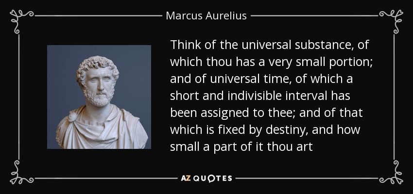 Think of the universal substance, of which thou has a very small portion; and of universal time, of which a short and indivisible interval has been assigned to thee; and of that which is fixed by destiny, and how small a part of it thou art - Marcus Aurelius