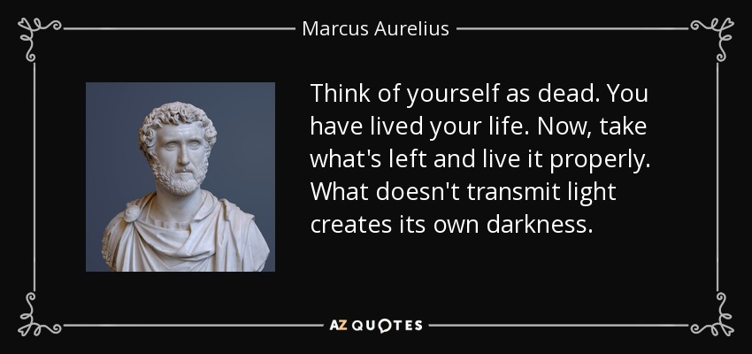 Think of yourself as dead. You have lived your life. Now, take what's left and live it properly. What doesn't transmit light creates its own darkness. - Marcus Aurelius