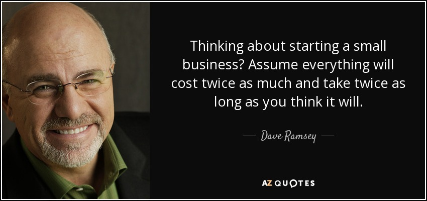 Thinking About Starting A Small Business? Assume Everything Will Cost Twice  As Much And Take