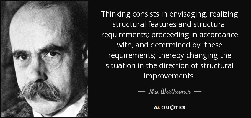 Thinking consists in envisaging, realizing structural features and structural requirements; proceeding in accordance with, and determined by, these requirements; thereby changing the situation in the direction of structural improvements. - Max Wertheimer