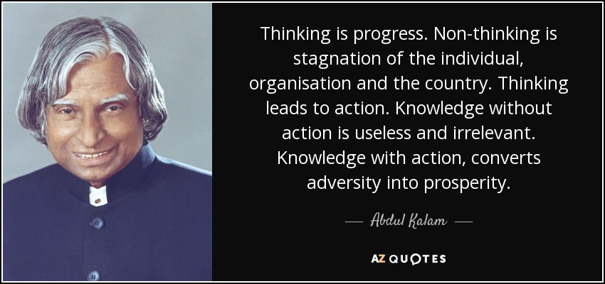abdul kalam quote thinking is progress non thinking is