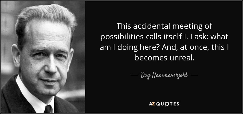 This accidental meeting of possibilities calls itself I. I ask: what am I doing here? And, at once, this I becomes unreal. - Dag Hammarskjold