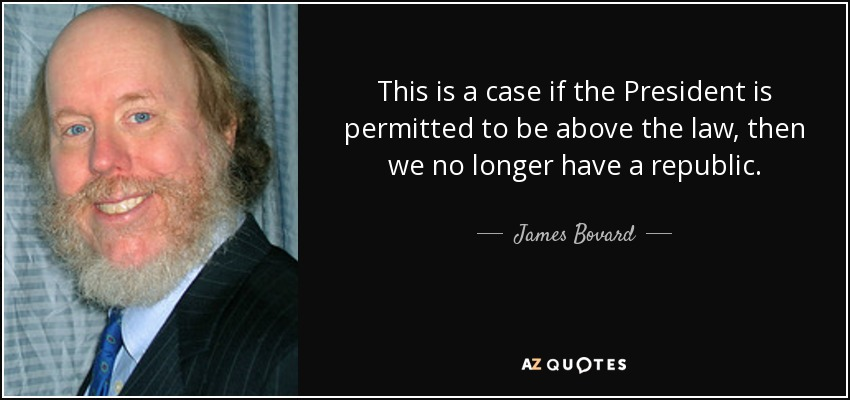 This is a case if the President is permitted to be above the law, then we no longer have a republic. - James Bovard
