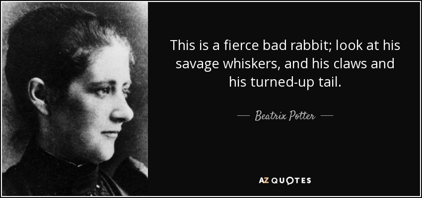 This is a fierce bad rabbit; look at his savage whiskers, and his claws and his turned-up tail. - Beatrix Potter