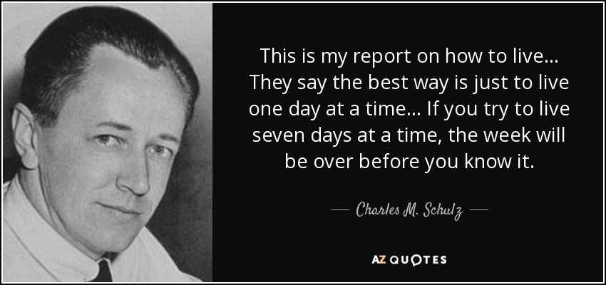 This is my report on how to live... They say the best way is just to live one day at a time... If you try to live seven days at a time, the week will be over before you know it. - Charles M. Schulz