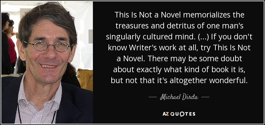 This Is Not a Novel memorializes the treasures and detritus of one man's singularly cultured mind. (...) If you don't know Writer's work at all, try This Is Not a Novel. There may be some doubt about exactly what kind of book it is, but not that it's altogether wonderful. - Michael Dirda