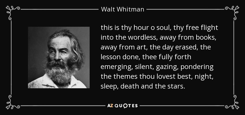 this is thy hour o soul, thy free flight into the wordless, away from books, away from art, the day erased, the lesson done, thee fully forth emerging, silent, gazing, pondering the themes thou lovest best, night, sleep, death and the stars. - Walt Whitman
