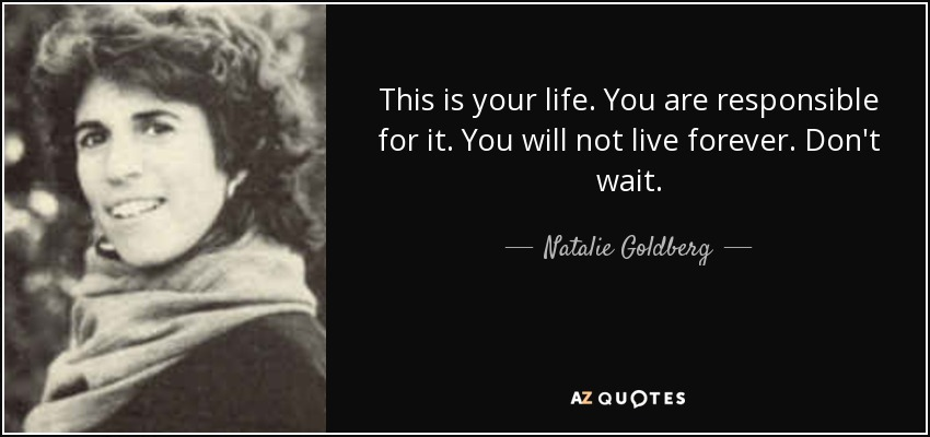 This is your life. You are responsible for it. You will not live forever. Don't wait. - Natalie Goldberg
