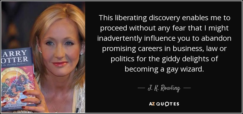 This liberating discovery enables me to proceed without any fear that I might inadvertently influence you to abandon promising careers in business, law or politics for the giddy delights of becoming a gay wizard. - J. K. Rowling