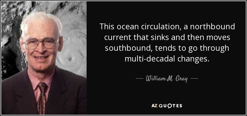This ocean circulation, a northbound current that sinks and then moves southbound, tends to go through multi-decadal changes. - William M. Gray