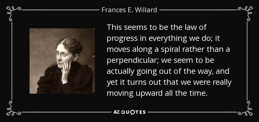 This seems to be the law of progress in everything we do; it moves along a spiral rather than a perpendicular; we seem to be actually going out of the way, and yet it turns out that we were really moving upward all the time. - Frances E. Willard