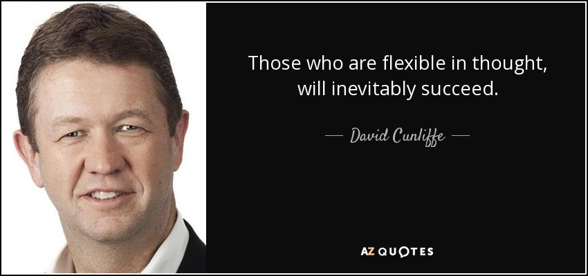 Those who are flexible in thought, will inevitably succeed. - David Cunliffe