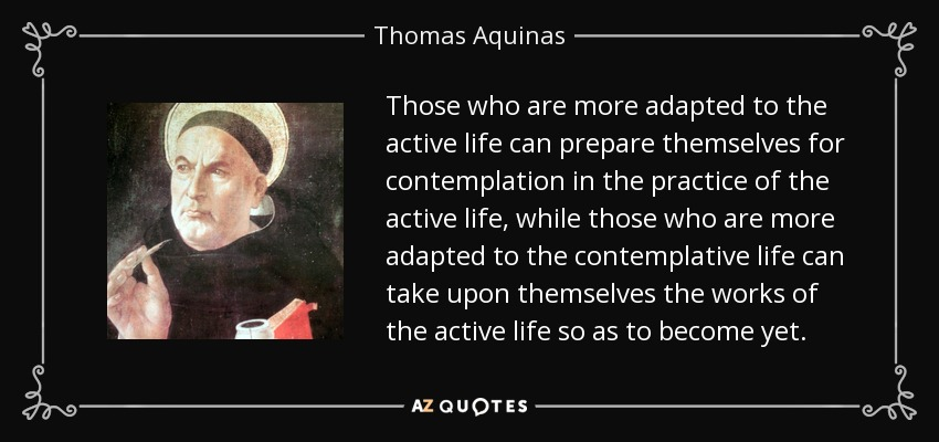 Those who are more adapted to the active life can prepare themselves for contemplation in the practice of the active life, while those who are more adapted to the contemplative life can take upon themselves the works of the active life so as to become yet. - Thomas Aquinas