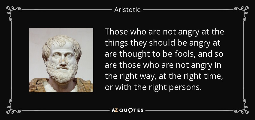 Those who are not angry at the things they should be angry at are thought to be fools, and so are those who are not angry in the right way, at the right time, or with the right persons. - Aristotle