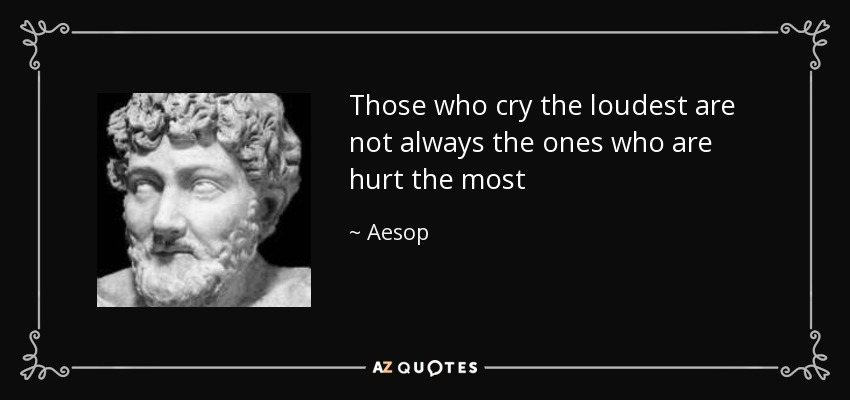 Those who cry the loudest are not always the ones who are hurt the most - Aesop