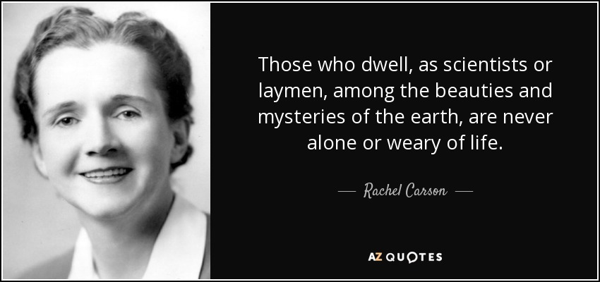 Those who dwell, as scientists or laymen, among the beauties and mysteries of the earth, are never alone or weary of life. - Rachel Carson