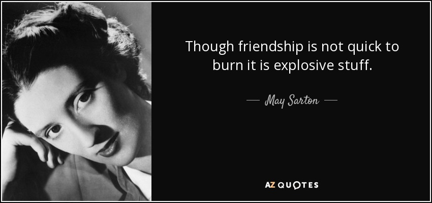 Though friendship is not quick to burn it is explosive stuff. - May Sarton