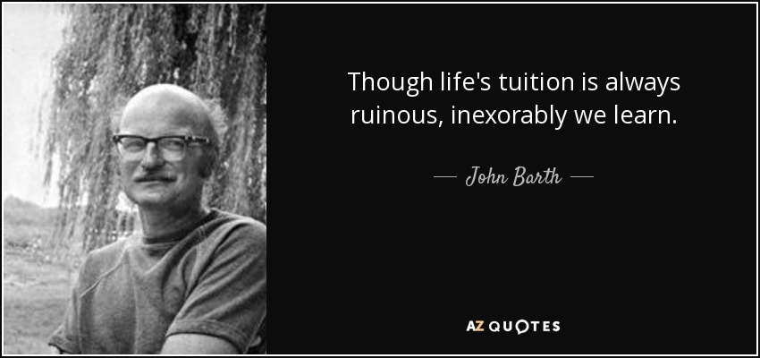 Though life's tuition is always ruinous, inexorably we learn. - John Barth