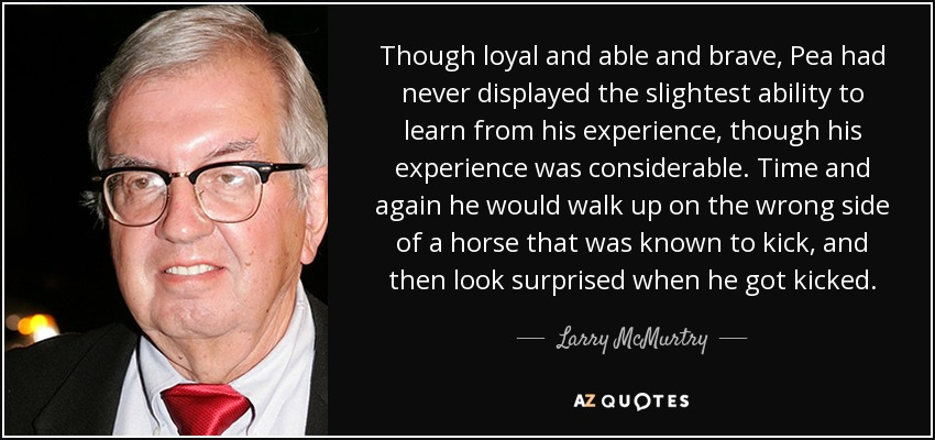 Though loyal and able and brave, Pea had never displayed the slightest ability to learn from his experience, though his experience was considerable. Time and again he would walk up on the wrong side of a horse that was known to kick, and then look surprised when he got kicked. - Larry McMurtry