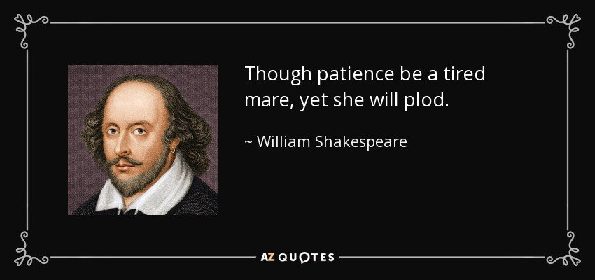 Though patience be a tired mare, yet she will plod. - William Shakespeare