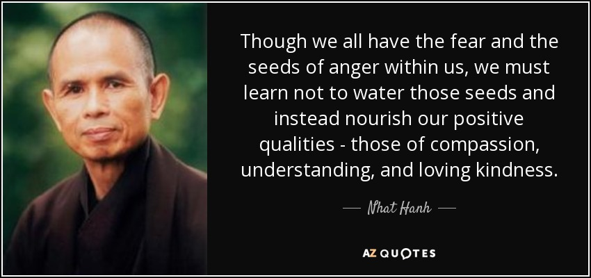 Though we all have the fear and the seeds of anger within us, we must learn not to water those seeds and instead nourish our positive qualities - those of compassion, understanding, and loving kindness. - Nhat Hanh