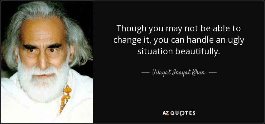 Though you may not be able to change it, you can handle an ugly situation beautifully. - Vilayat Inayat Khan