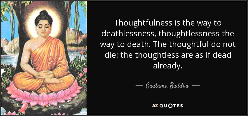 Thoughtfulness is the way to deathlessness, thoughtlessness the way to death. The thoughtful do not die: the thoughtless are as if dead already. - Gautama Buddha