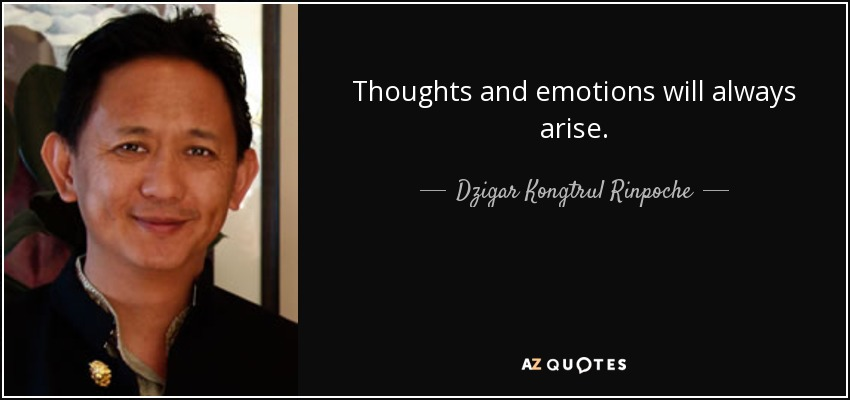 Thoughts and emotions will always arise. - Dzigar Kongtrul Rinpoche
