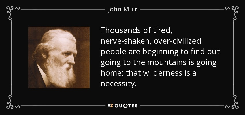 Thousands of tired, nerve-shaken, over-civilized people are beginning to find out going to the mountains is going home; that wilderness is a necessity... - John Muir
