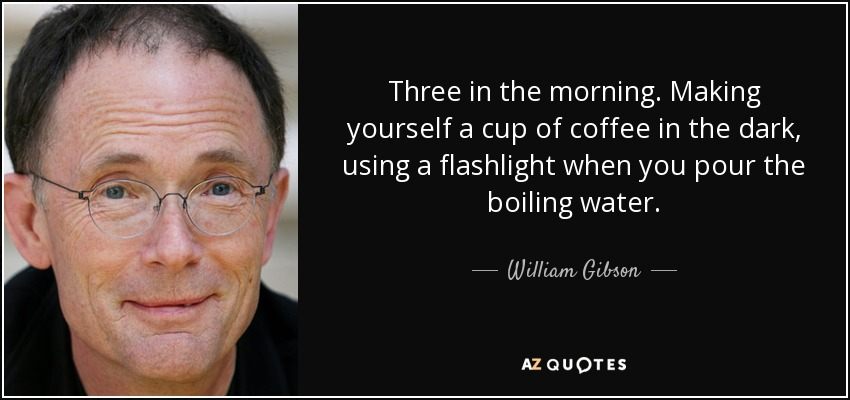 Three in the morning. Making yourself a cup of coffee in the dark, using a flashlight when you pour the boiling water. - William Gibson