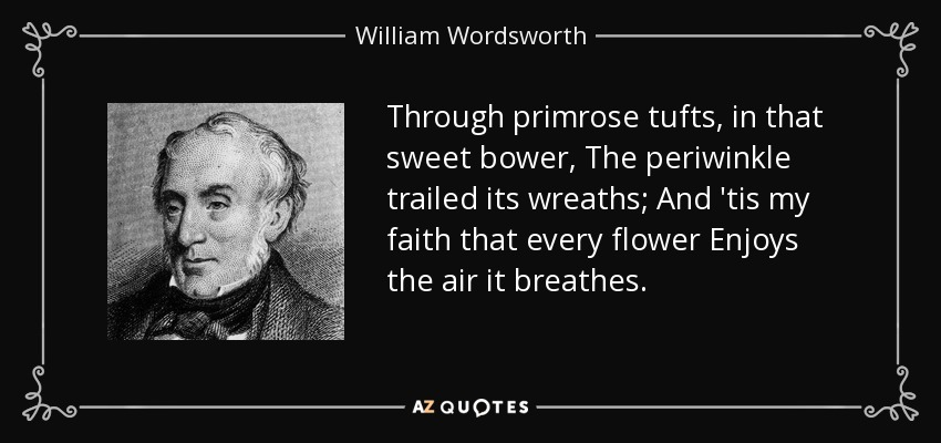 Through primrose tufts, in that sweet bower, The periwinkle trailed its wreaths; And 'tis my faith that every flower Enjoys the air it breathes. - William Wordsworth