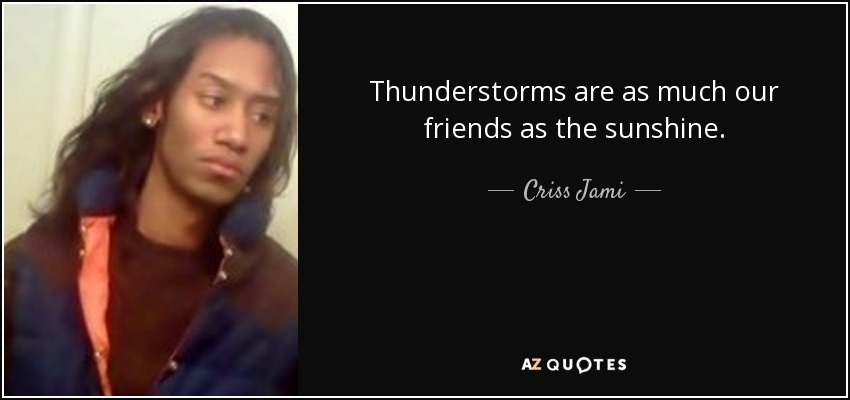 Thunderstorms are as much our friends as the sunshine. - Criss Jami