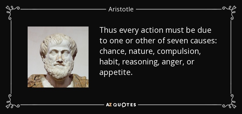 Thus every action must be due to one or other of seven causes: chance, nature, compulsion, habit, reasoning, anger, or appetite. - Aristotle