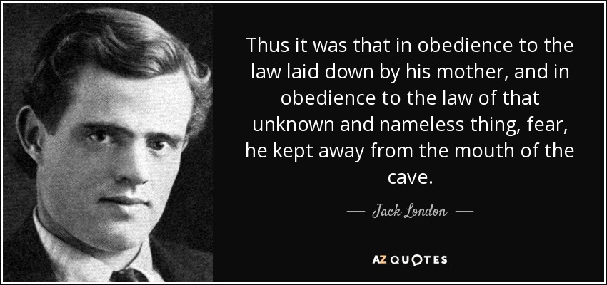 Thus it was that in obedience to the law laid down by his mother, and in obedience to the law of that unknown and nameless thing, fear, he kept away from the mouth of the cave. - Jack London