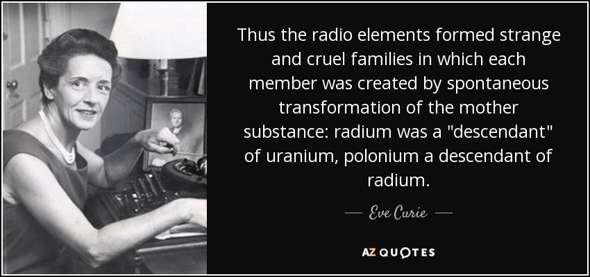Thus the radio elements formed strange and cruel families in which each member was created by spontaneous transformation of the mother substance: radium was a