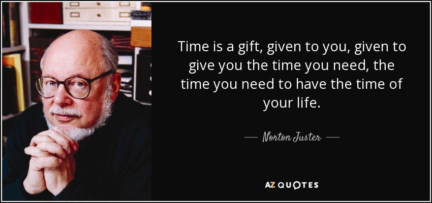 Time is a gift, given to you, given to give you the time you need, the time you need to have the time of your life. - Norton Juster