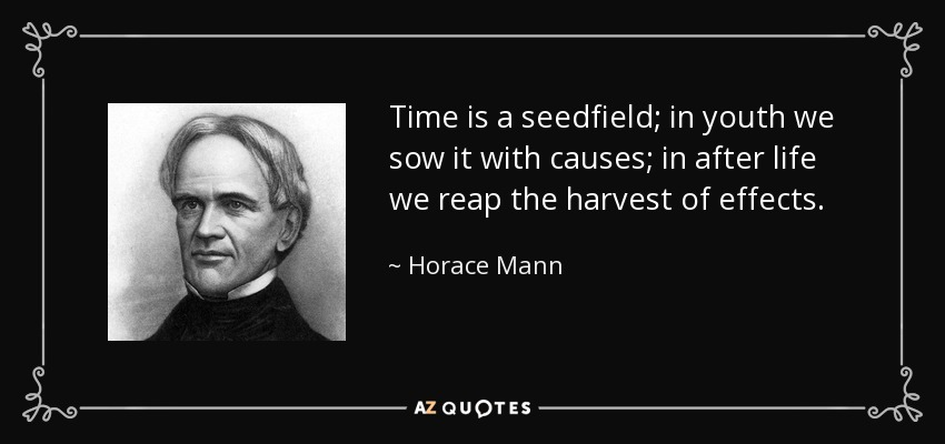 Time is a seedfield; in youth we sow it with causes; in after life we reap the harvest of effects. - Horace Mann