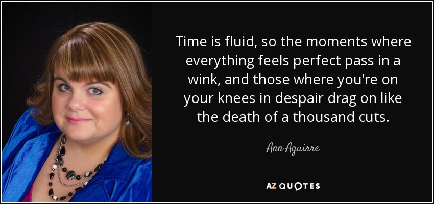 Time is fluid, so the moments where everything feels perfect pass in a wink, and those where you're on your knees in despair drag on like the death of a thousand cuts. - Ann Aguirre