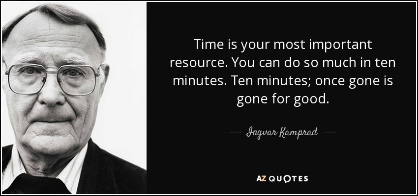 Ingvar Kamprad Quote Time Is Your Most Important Resource You Can