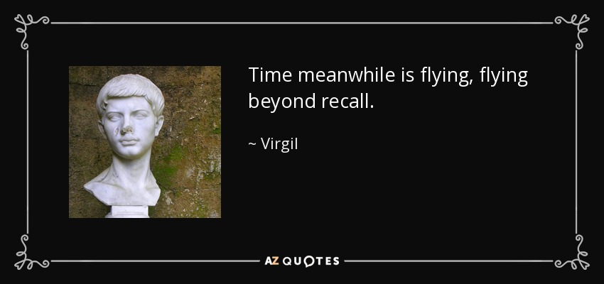 Time meanwhile is flying, flying beyond recall. - Virgil