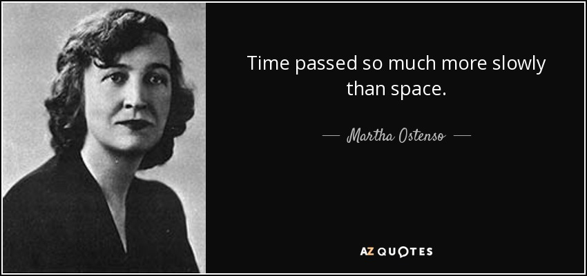 Time passed so much more slowly than space. - Martha Ostenso