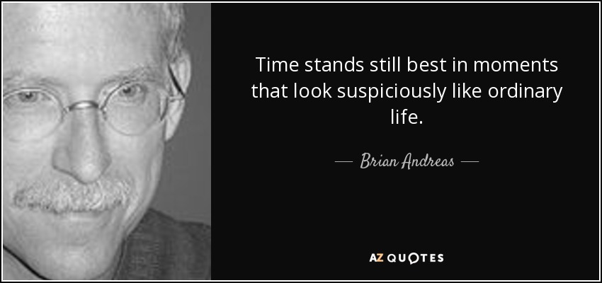 Time stands still best in moments that look suspiciously like ordinary life. - Brian Andreas