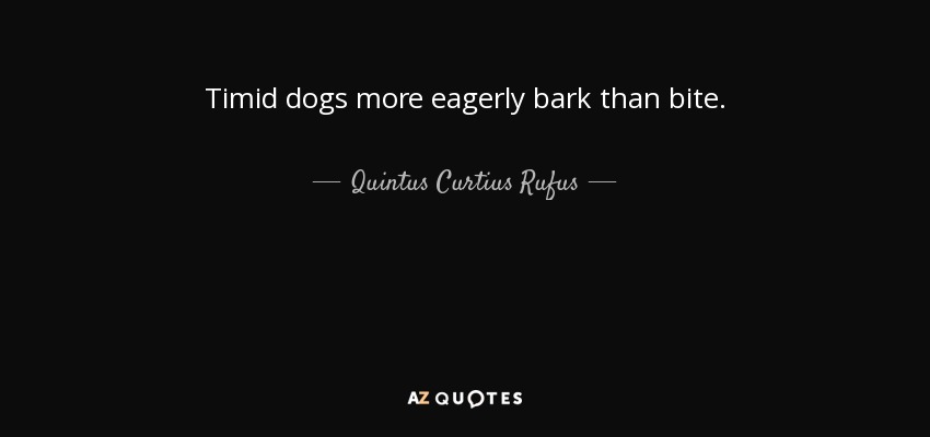 Timid dogs more eagerly bark than bite. - Quintus Curtius Rufus